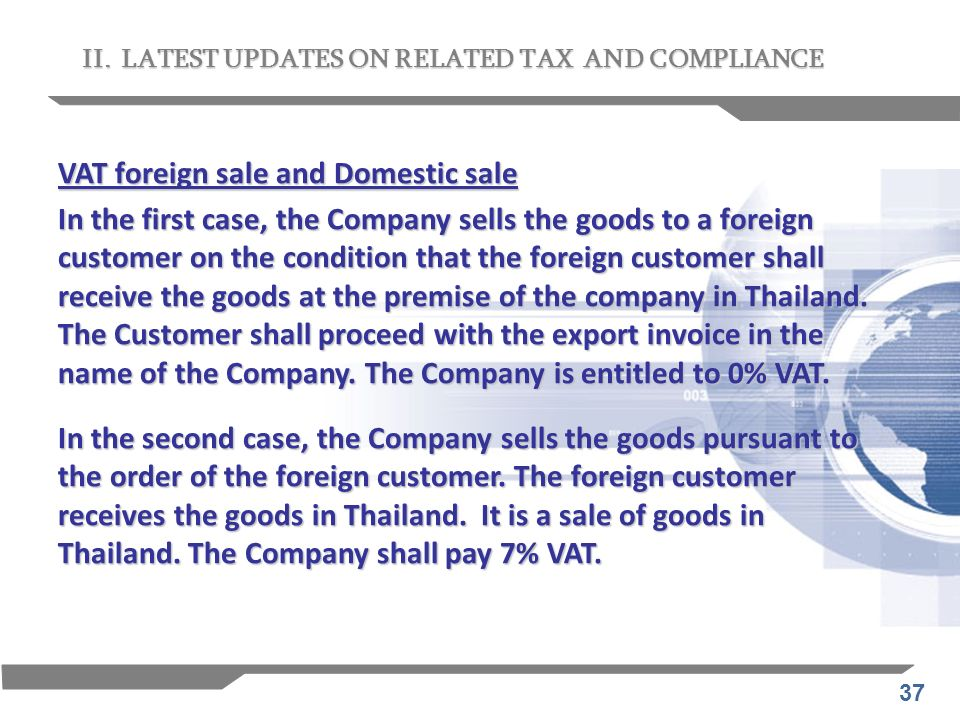 VAT foreign sale and Domestic sale