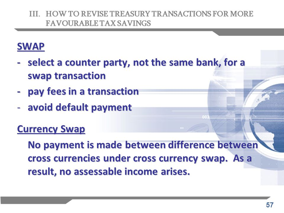 - select a counter party, not the same bank, for a swap transaction