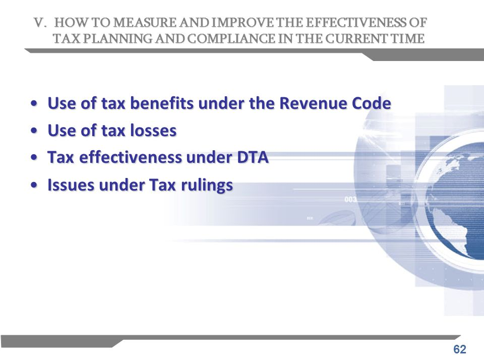 Use of tax benefits under the Revenue Code Use of tax losses