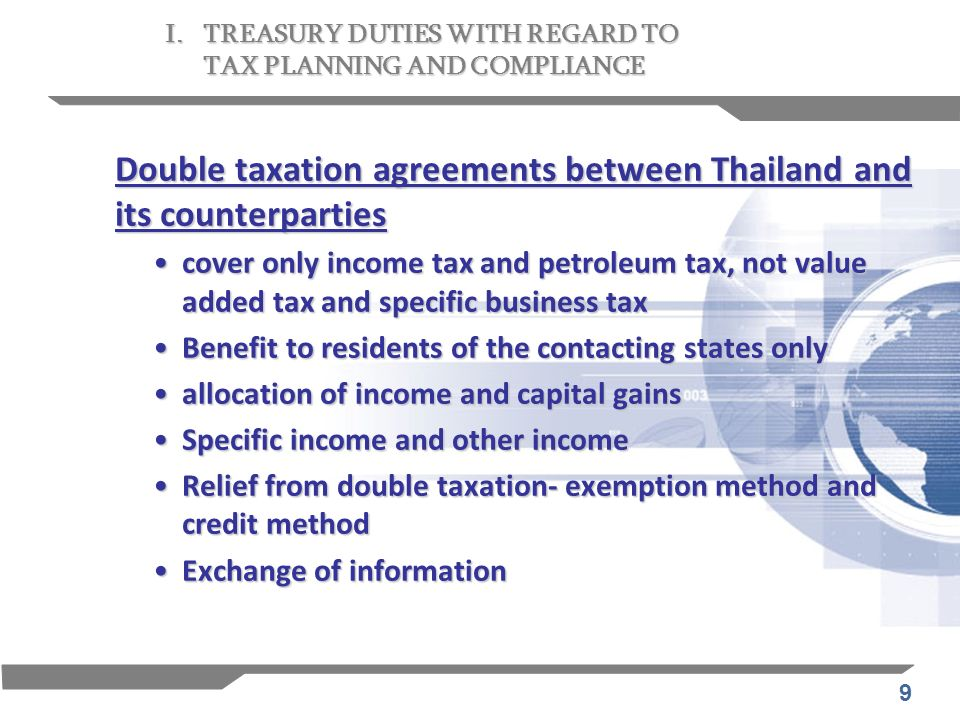Double taxation agreements between Thailand and its counterparties