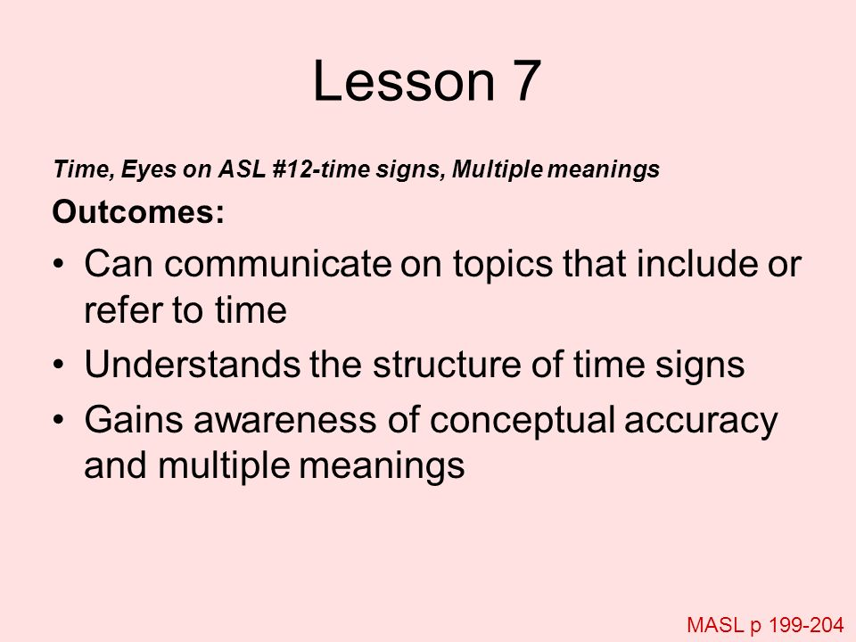 Lesson 7 Can communicate on topics that include or refer to time