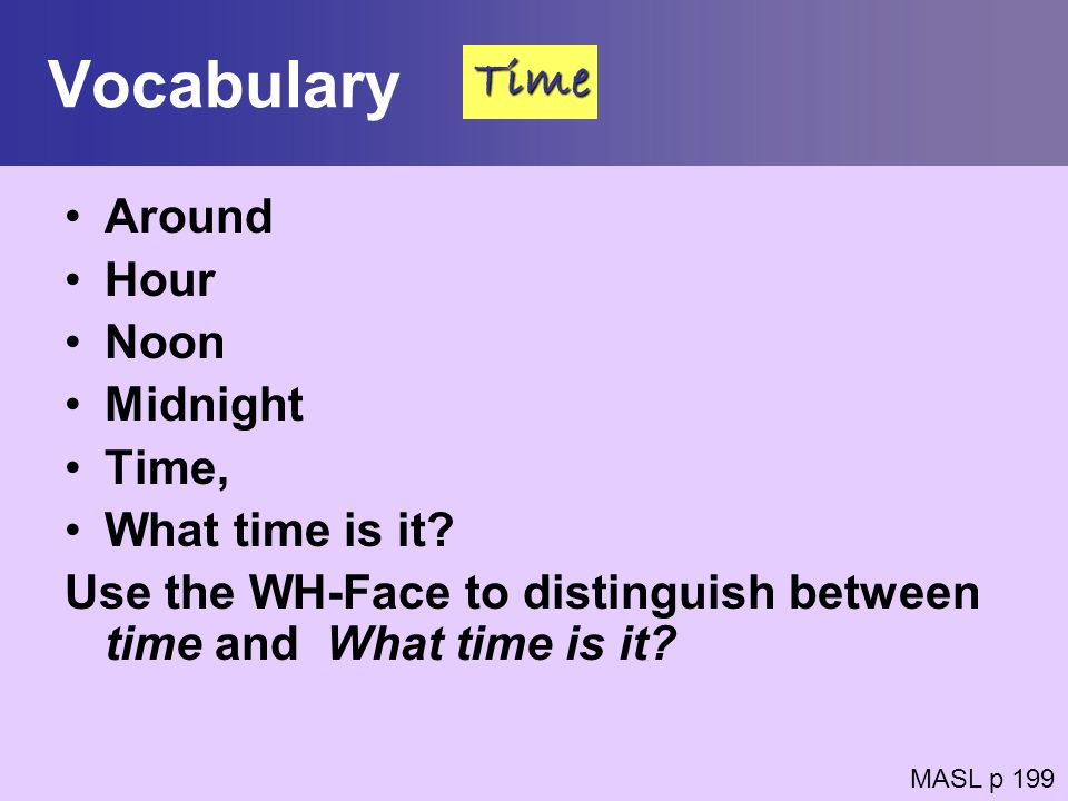 Vocabulary Time Around Hour Noon Midnight Time, What time is it
