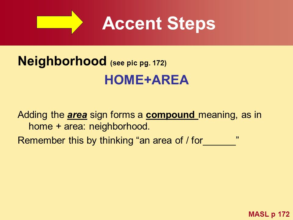 Accent Steps Neighborhood (see pic pg. 172) HOME+AREA