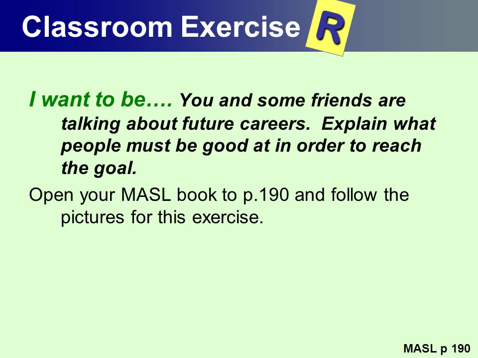 Classroom Exercise R.