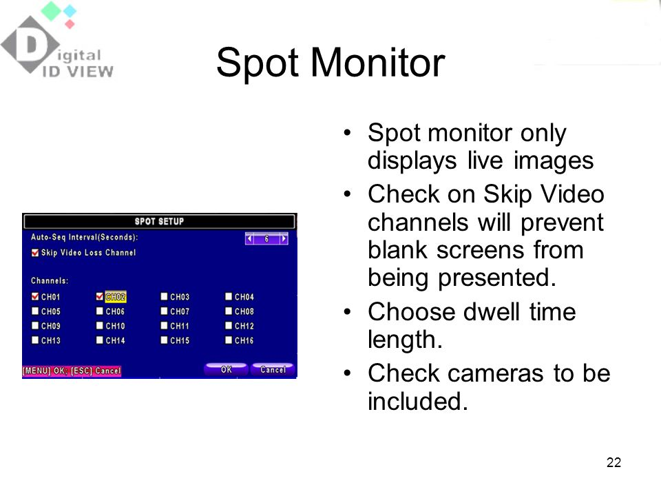 Spot Monitor Spot monitor only displays live images