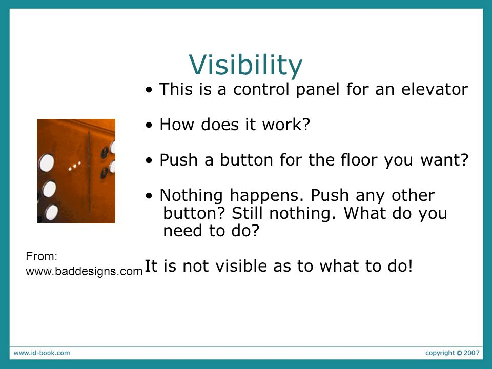 Visibility • This is a control panel for an elevator