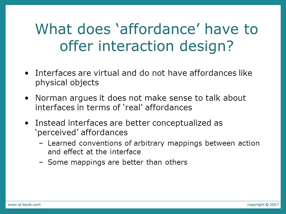 What does 'affordance' have to offer interaction design