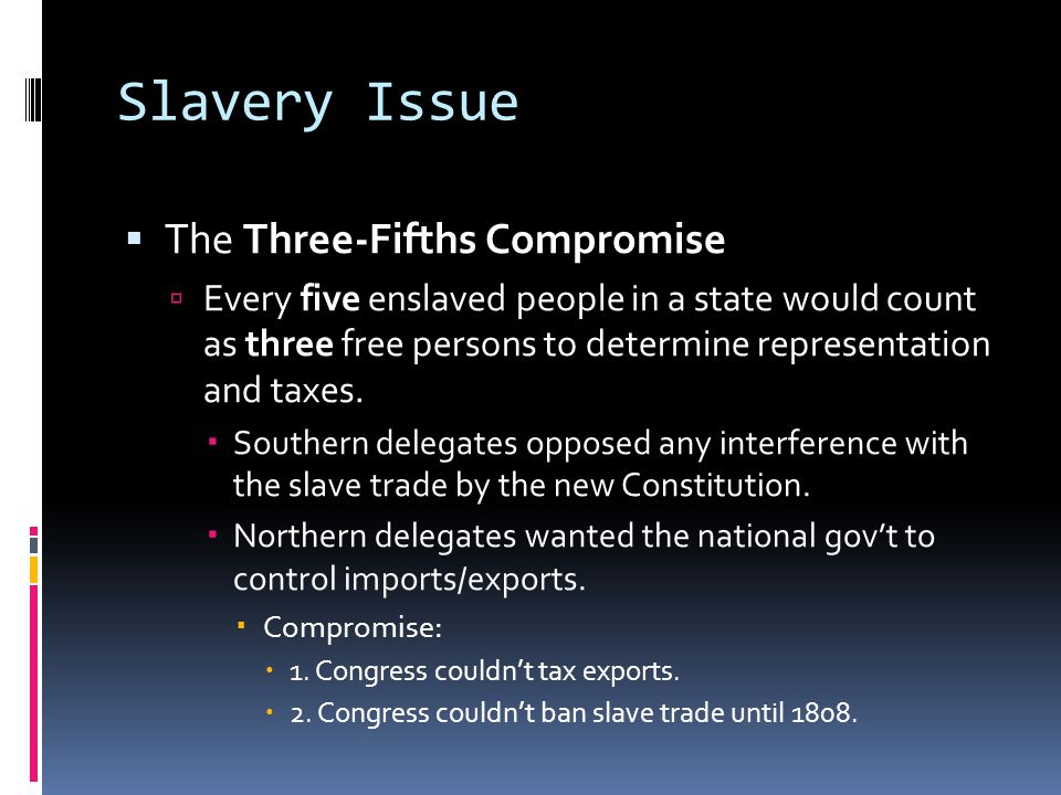 Slavery Issue The Three-Fifths Compromise