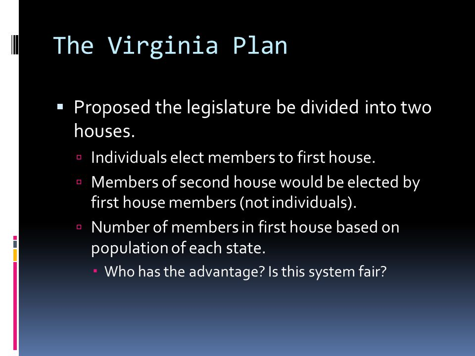 The Virginia Plan Proposed the legislature be divided into two houses.