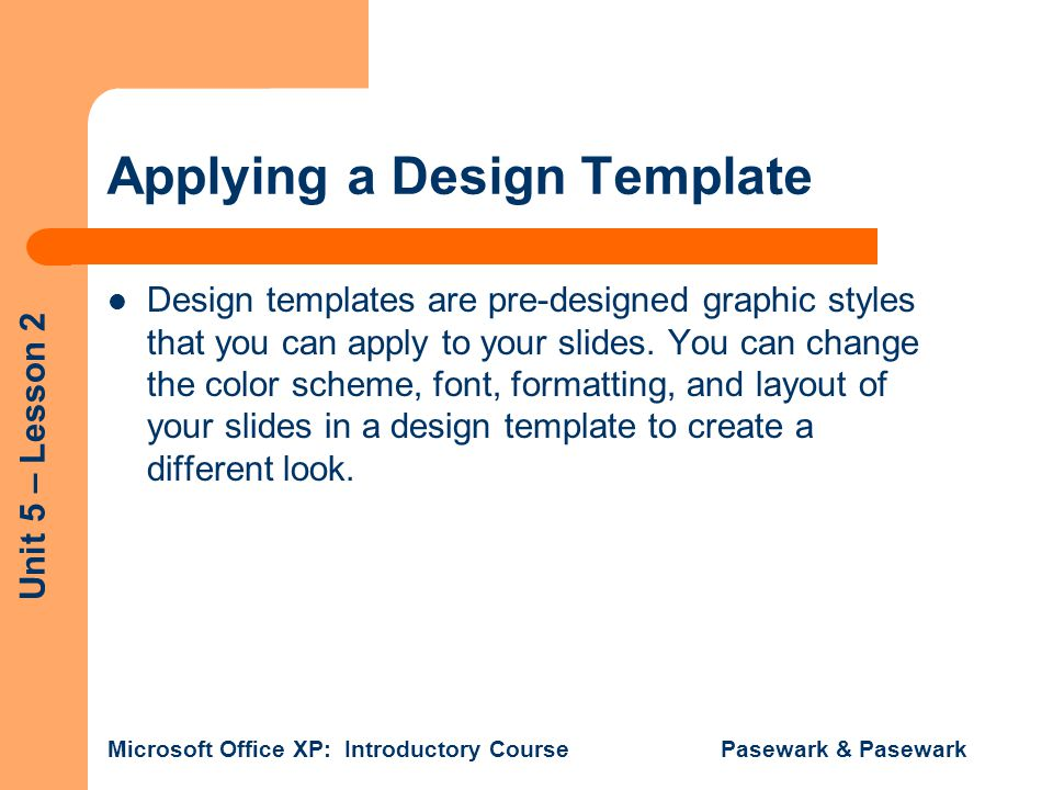Applying a Design Template