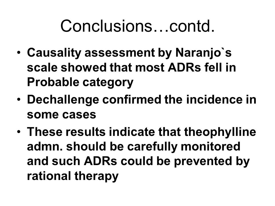 Conclusions…contd. Causality assessment by Naranjo`s scale showed that most ADRs fell in Probable category.
