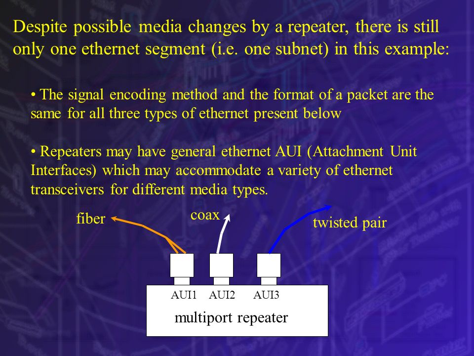 Despite possible media changes by a repeater, there is still only one ethernet segment (i.e. one subnet) in this example: