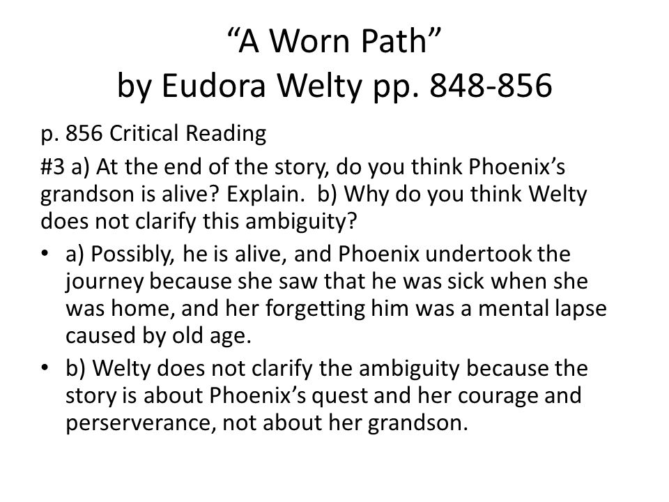 a worn path by eudora welty short story