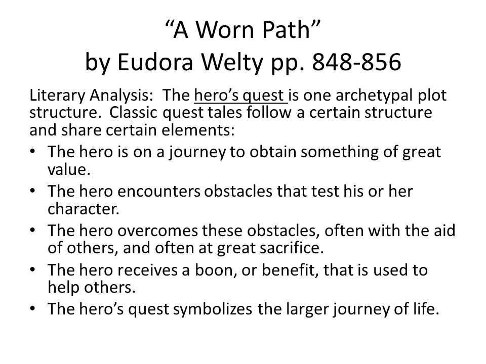 symbolism in eudora welty s a worn Start studying a worn path by eudora welty symbolism learn vocabulary, terms, and more with flashcards, games, and other study tools.
