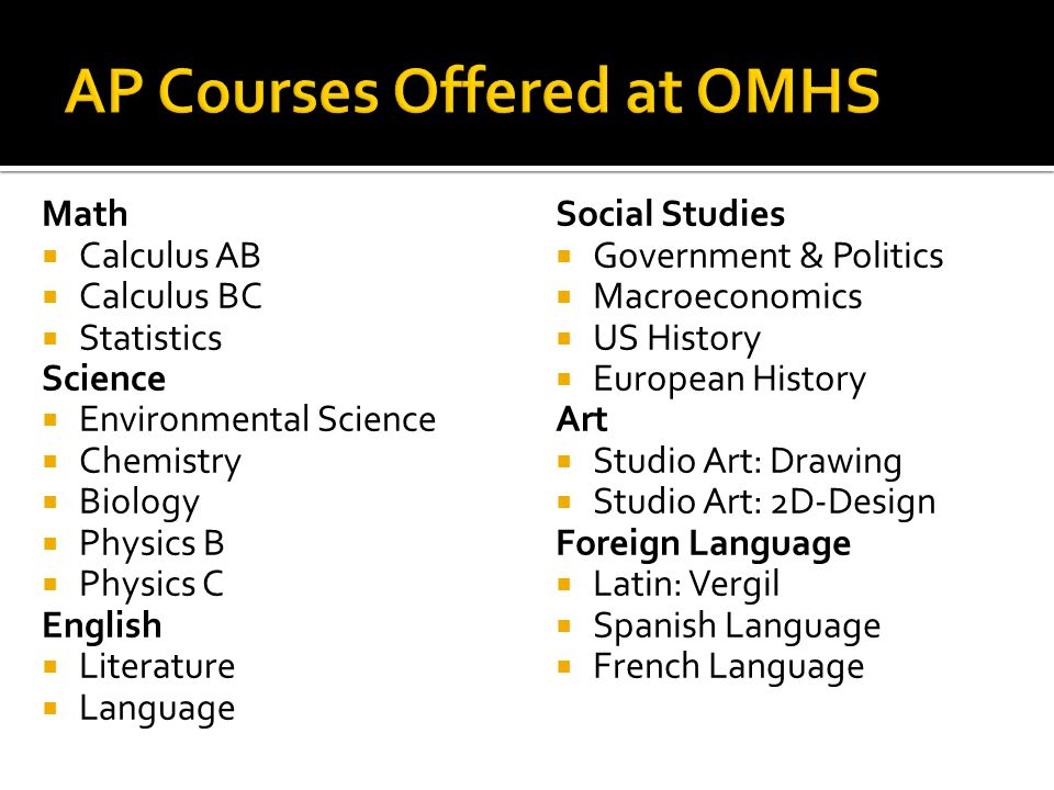 AP Courses Offered at OMHS