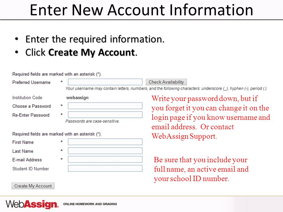 Enter New Account Information