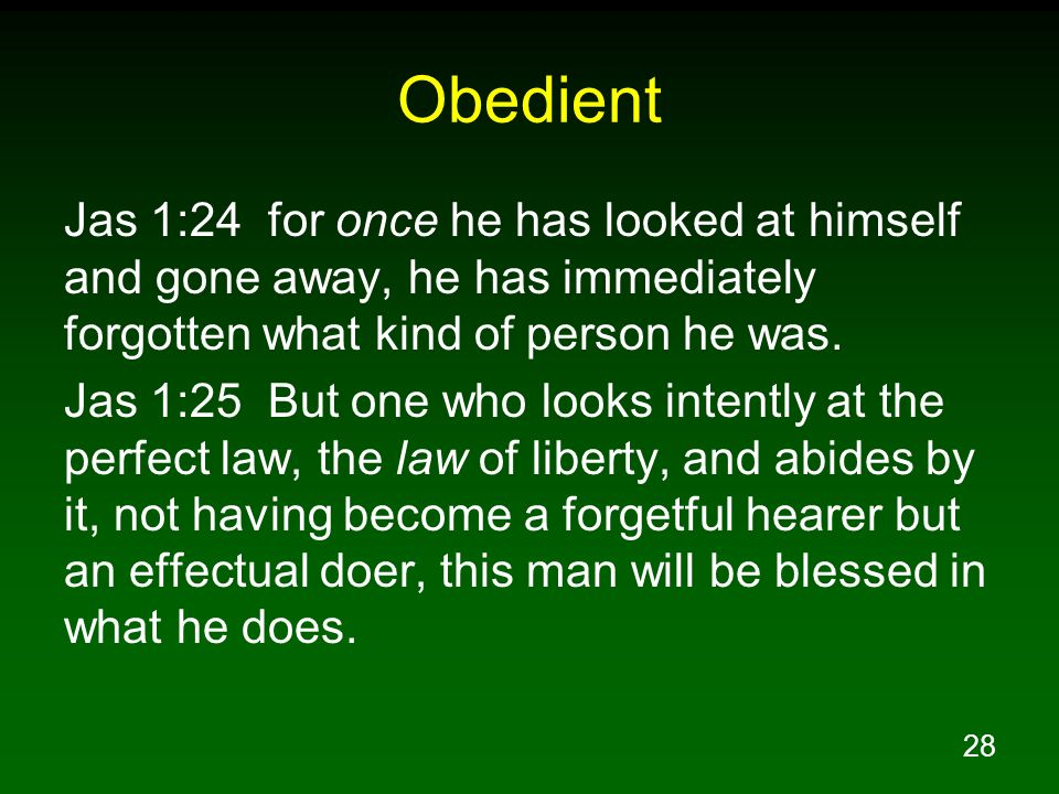 Obedient Jas 1:24 for once he has looked at himself and gone away, he has immediately forgotten what kind of person he was.