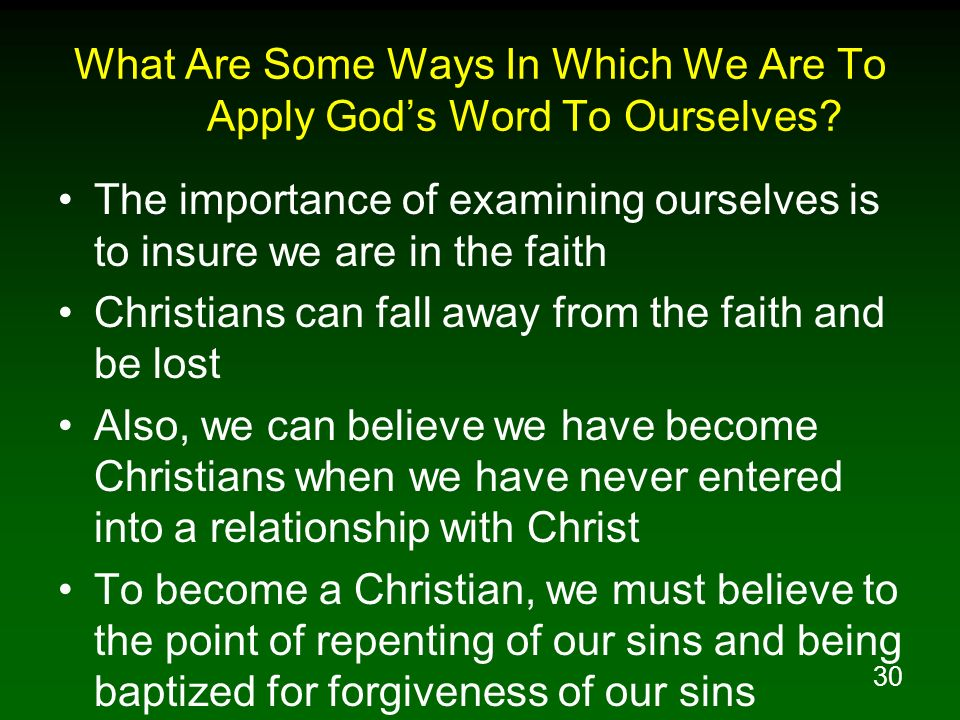 What Are Some Ways In Which We Are To Apply God's Word To Ourselves