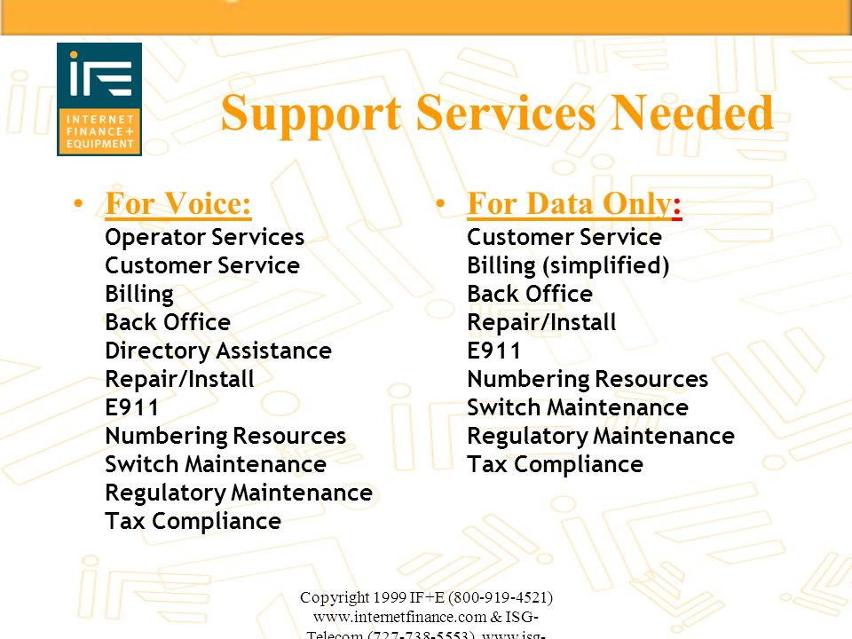 Support Services Needed