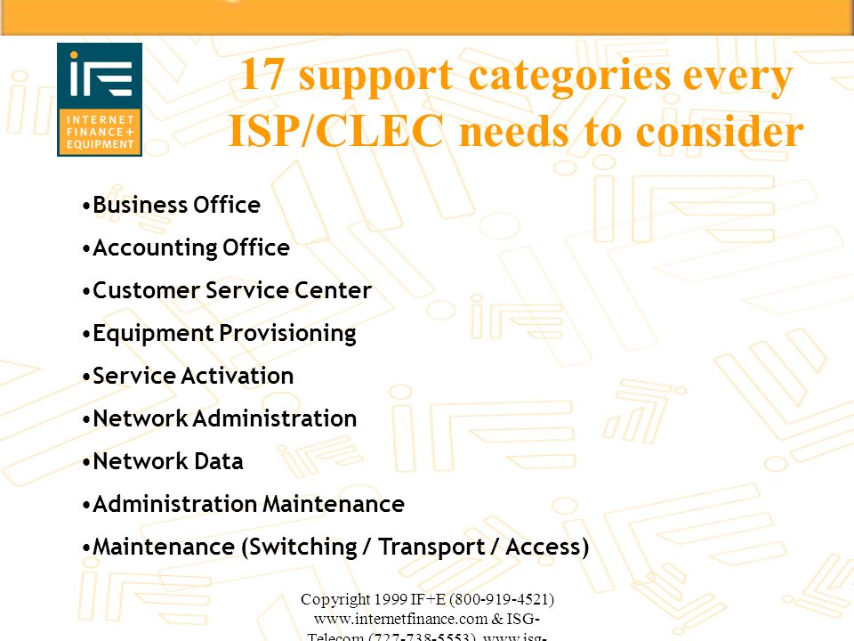 17 support categories every ISP/CLEC needs to consider