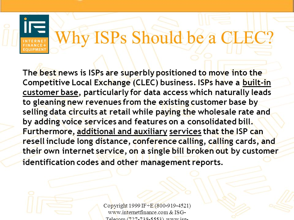 Why ISPs Should be a CLEC