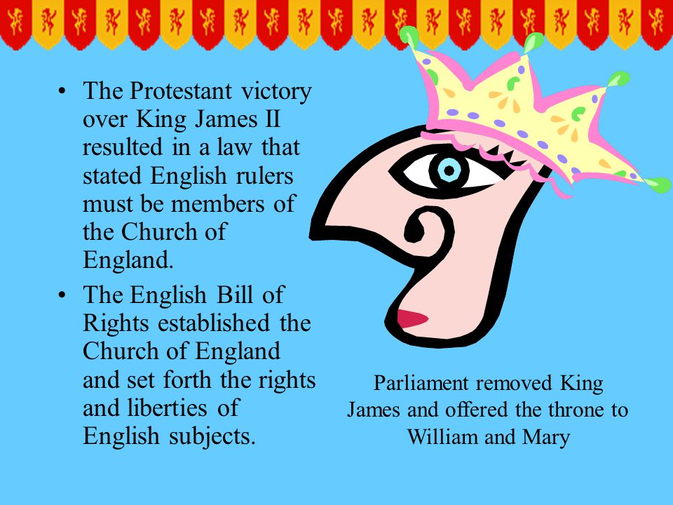 The Protestant victory over King James II resulted in a law that stated English rulers must be members of the Church of England.