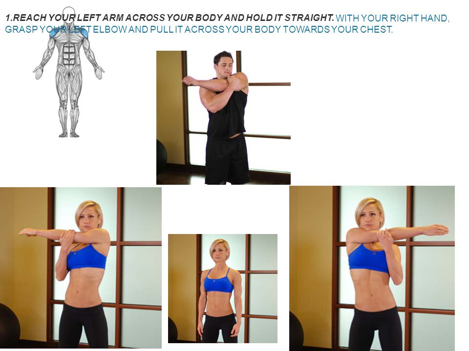 CLICK TO ENLARGE Shoulder Stretch Guide. Main Muscle: Shoulders. Click to enlarge. Click to enlarge.