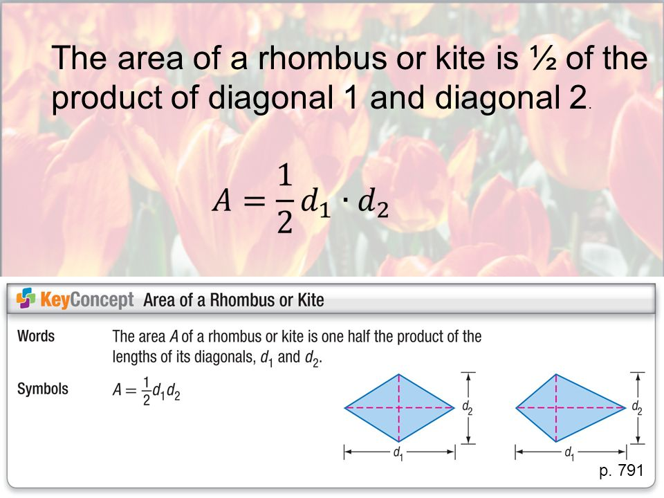 The area of a rhombus or kite is ½ of the product of diagonal 1 and diagonal 2.