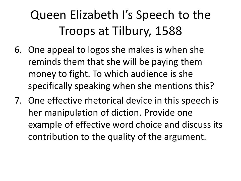 speech to the troops at tilbury rhetorical analysis