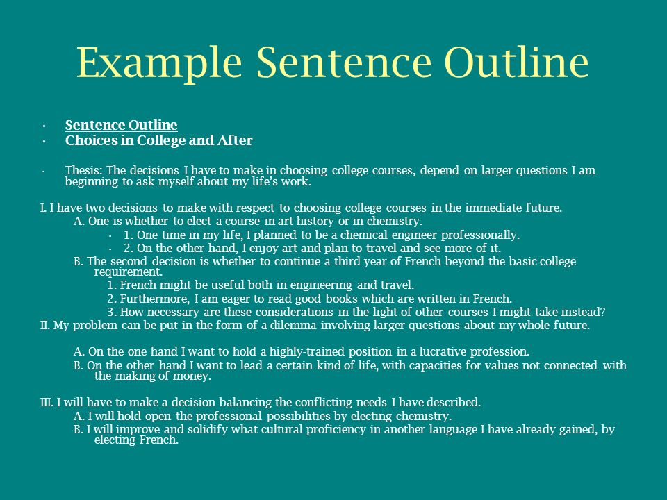 formal sentence outline for research paper Writing an apa outline format having a good outline has more chances of you presenting a well-written research paper or essay making an apa outline is the first thing to do in creating a structure on what will be written in the paper and how it is written.