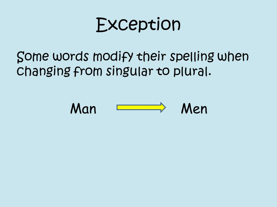 Exception Some words modify their spelling when changing from singular to plural. Man Men