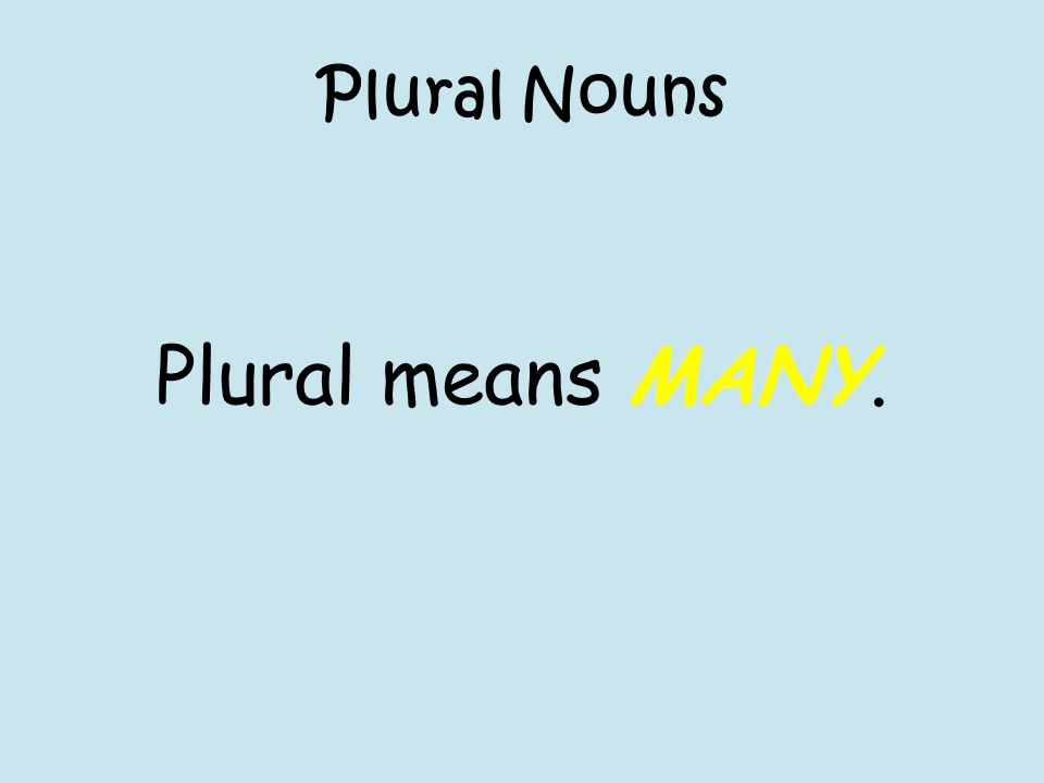 Plural Nouns Plural means MANY.