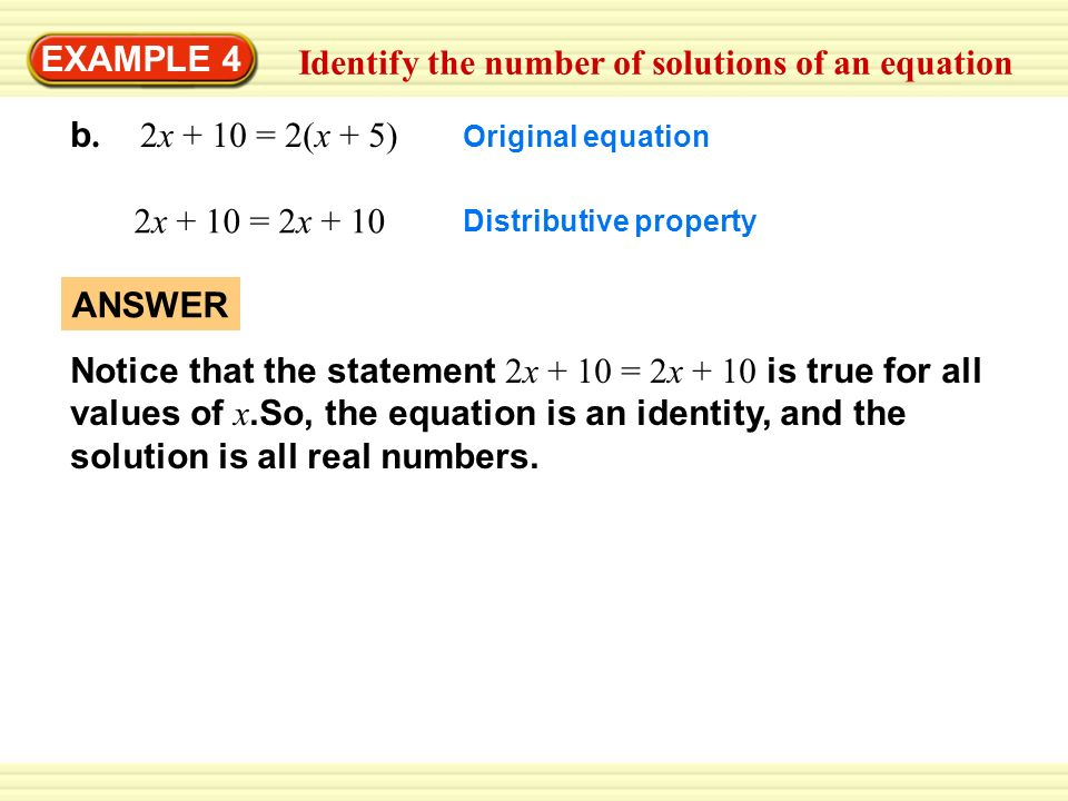 Identify the number of solutions of an equation