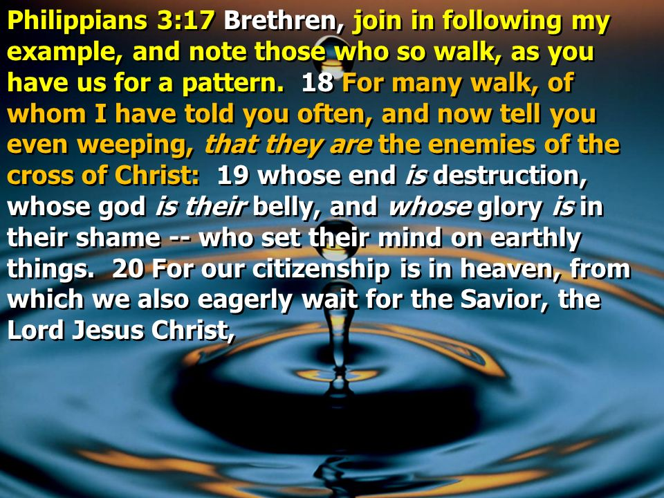 Philippians 3:17 Brethren, join in following my example, and note those who so walk, as you have us for a pattern.