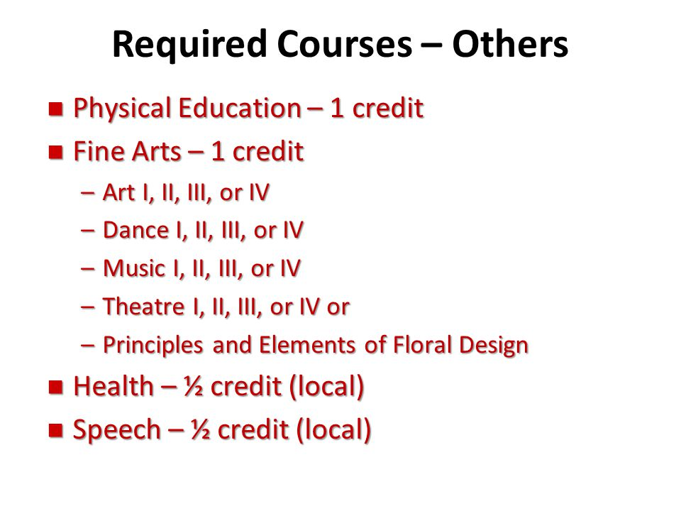 Required Courses – Others