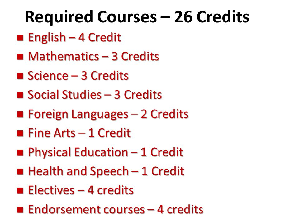 Required Courses – 26 Credits