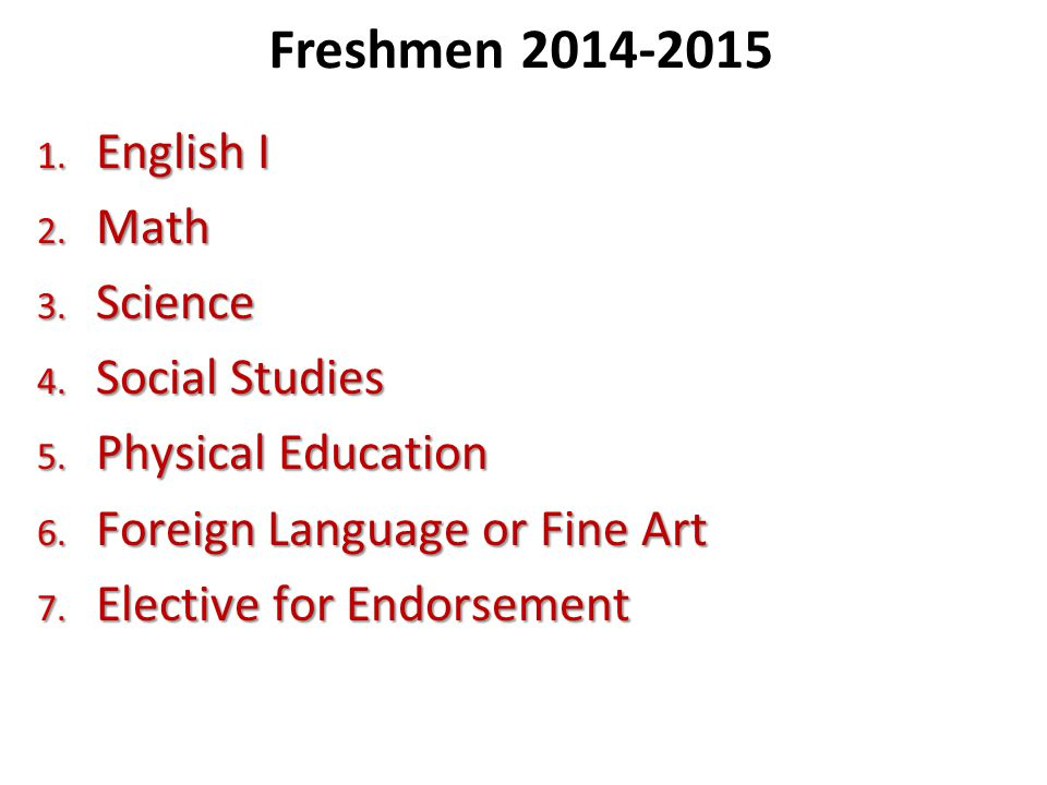 Freshmen English I Math Science Social Studies
