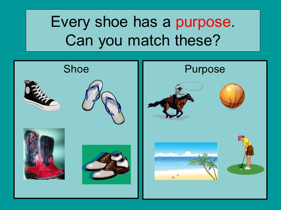 Every shoe has a purpose. Can you match these