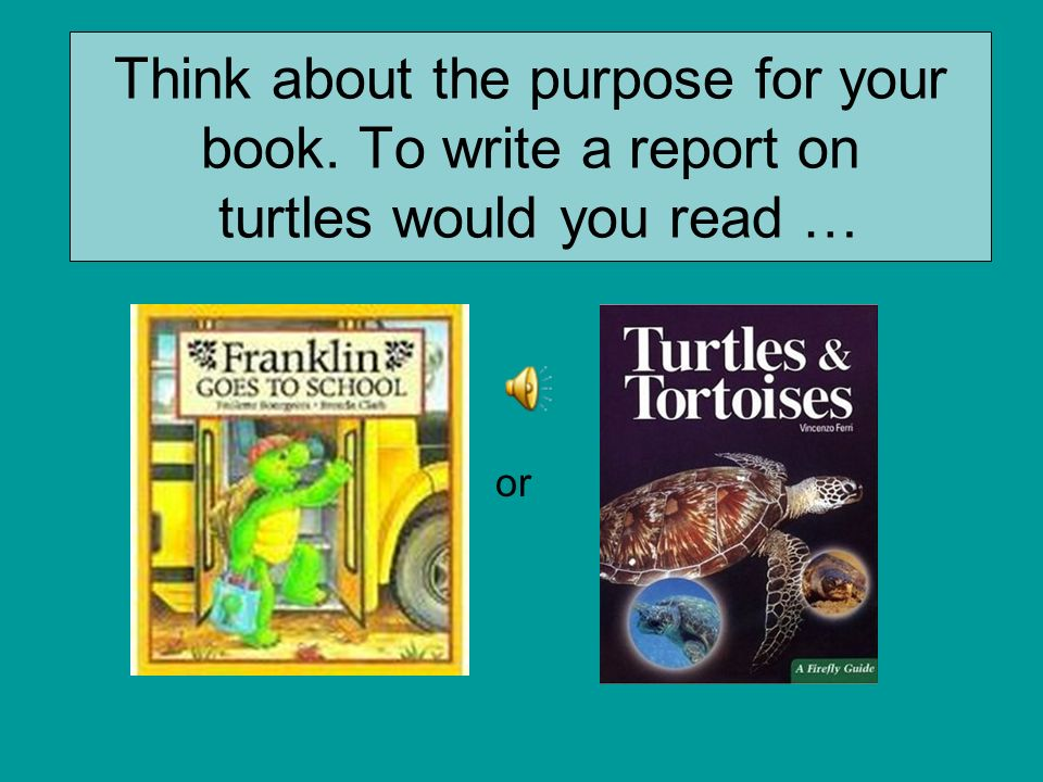 Think about the purpose for your book