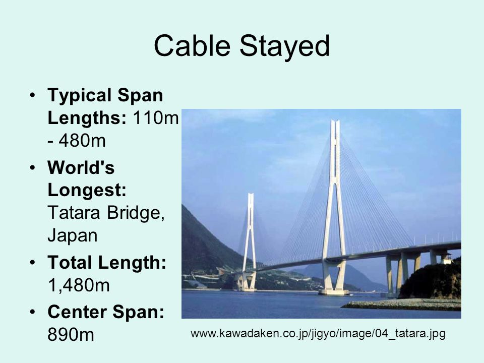 Cable Stayed Typical Span Lengths: 110m - 480m