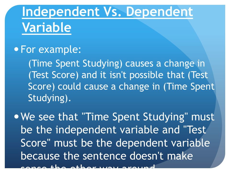Examples Of Independent Variable And Dependent Variable