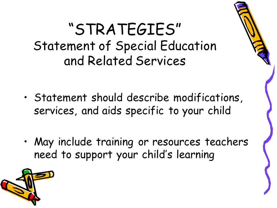 STRATEGIES Statement of Special Education and Related Services