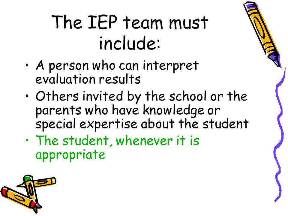 The IEP team must include: