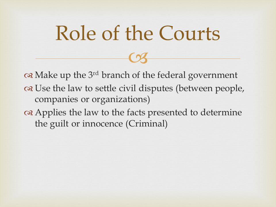 Role of the Courts Make up the 3rd branch of the federal government
