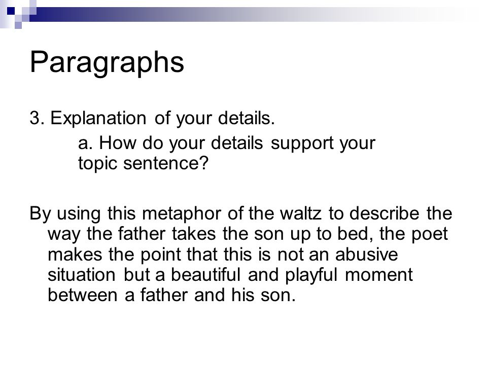 Paragraphs 3. Explanation of your details.