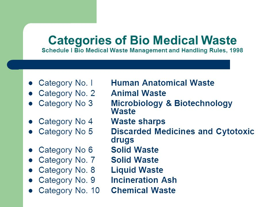 Categories of Bio Medical Waste Schedule I Bio Medical Waste Management and Handling Rules, 1998