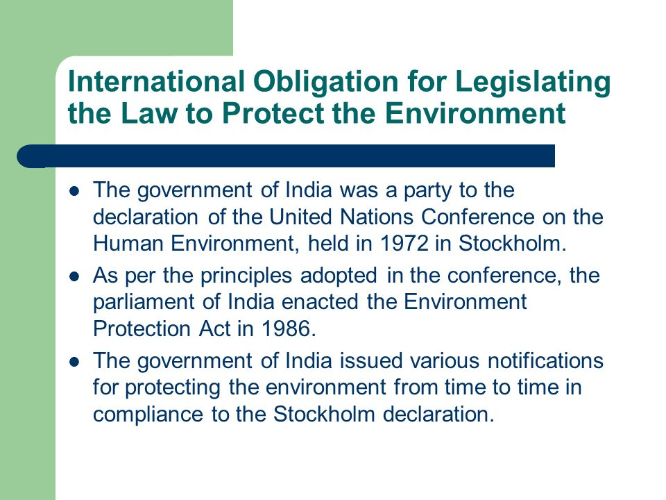 International Obligation for Legislating the Law to Protect the Environment