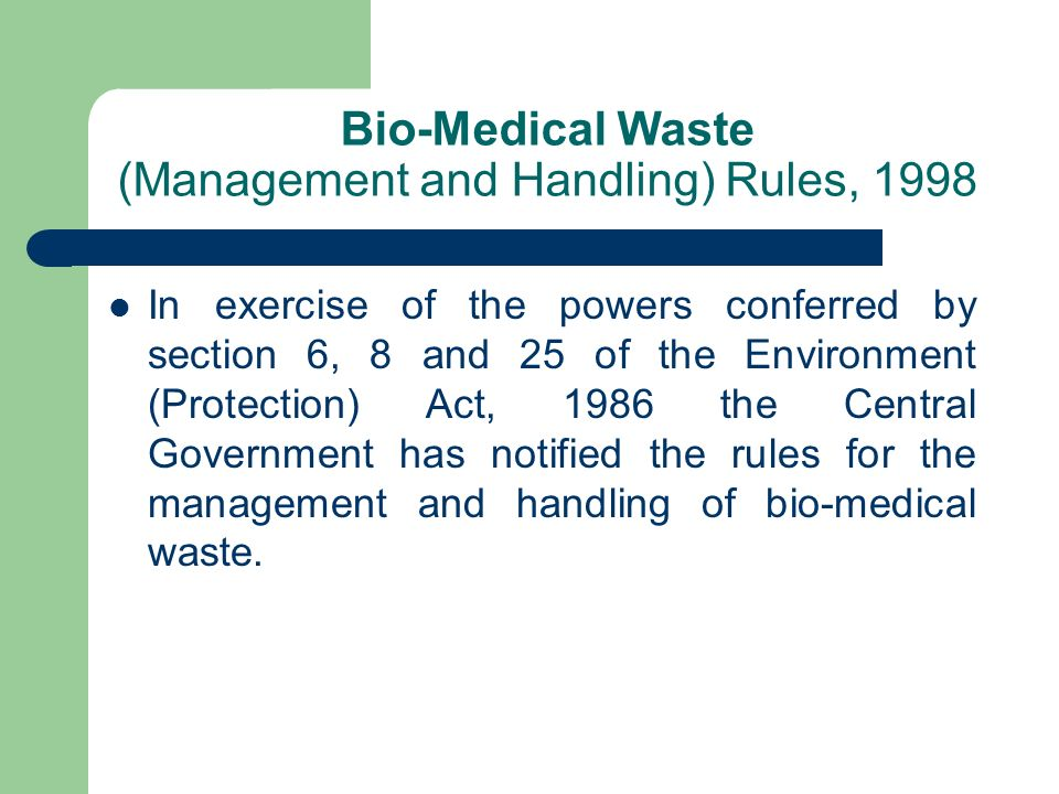 Bio-Medical Waste (Management and Handling) Rules, 1998