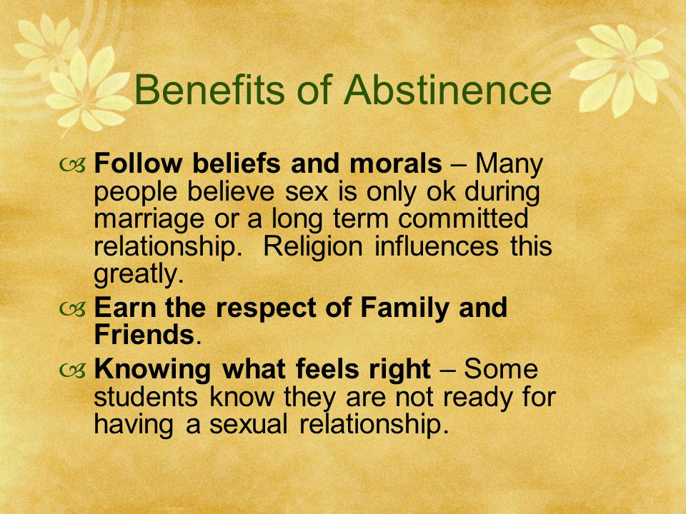 Benefits of sexual abstinence