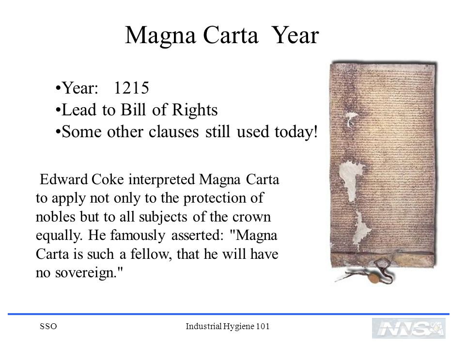 Magna Carta Year Year: 1215 Lead to Bill of Rights